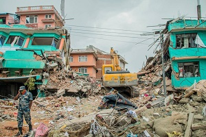 A church that was destroyed in the earthquake. Photo courtesy of Vishal Arora.